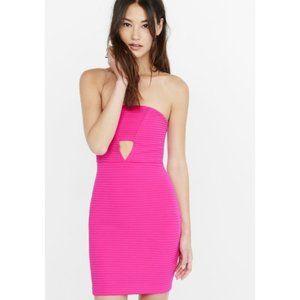 Express Strapless Mini Hot Pink Dress